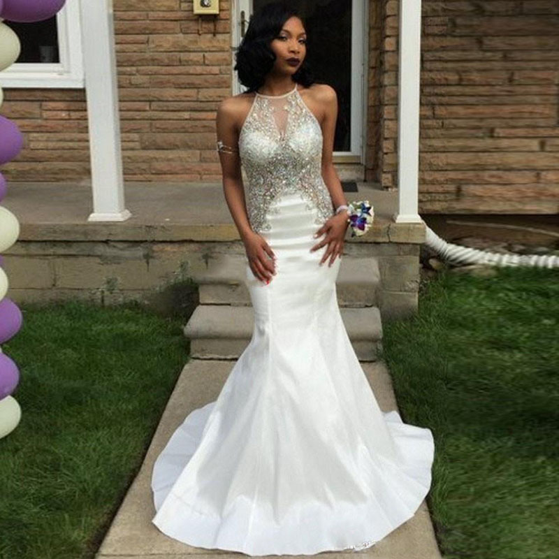 Sexy White Mermaid Prom Gown Halter Beaded Open Back Formal Evening Dress for Wedding Party