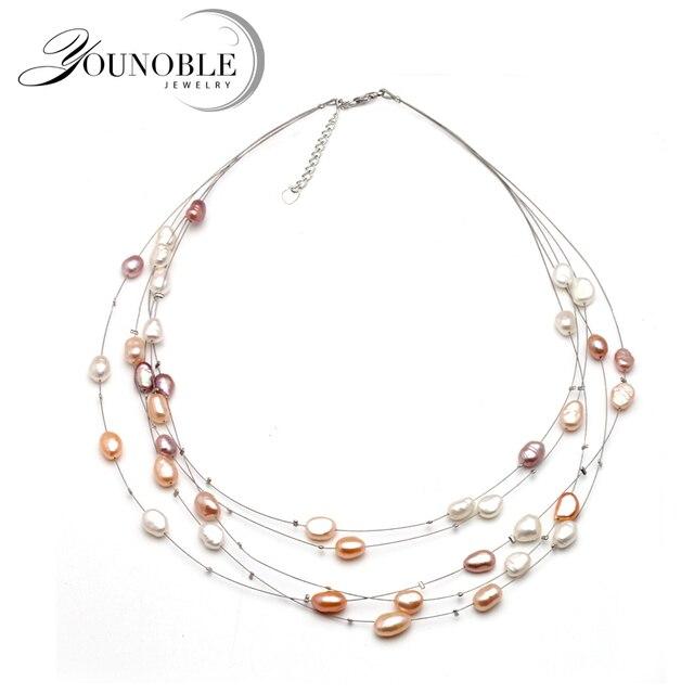 Genuine Freshwater Multilayer choker pearl necklace woman,wedding fashion natura