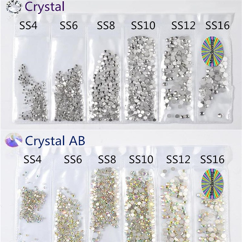 SS4-S16 1300PCS Mix Sizes New Packing Crystal Glass Non Hotfix Flatback Nail Rhinestones For Nails 3D Nail Art Decorations Gems super shiny 5000p ss16 4mm crystal clear ab non hotfix rhinestones for 3d nail art decoration flatback rhinestones diy