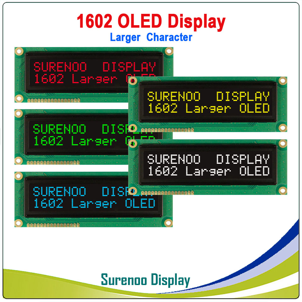 Real OLED Display, Military Level Larger 1602 162 Character LCD Module Screen LCM Build-in WS0010, Support Serial SPI