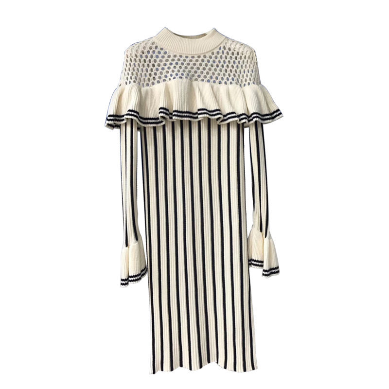 Amolapha Women Knit Ruffles Striped Dress Long Sleeve Hollow Out Elegant Woman Vintage Split Pullover Dresses