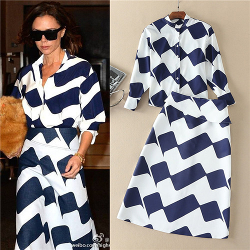 Nova primavera Victoria Beckham Roupas Elegantes Conjuntos 2 Peças Outfits de Manga Longa Blusas e Saias Longas Azul Marinho Faixa Branca