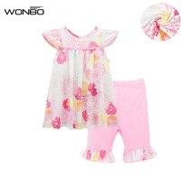 2 PCS Set Floral Baby Girl Suit Infant Soft Summer Bebe Clothes Newborn Outfit Cotton Baby