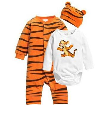 Newborn baby   rompers   set 3pcs/set Baby Clothes Lovely cartoon Tiger Orange color baby   rompers   Cotton Fabric Infant Baby jumpsuit