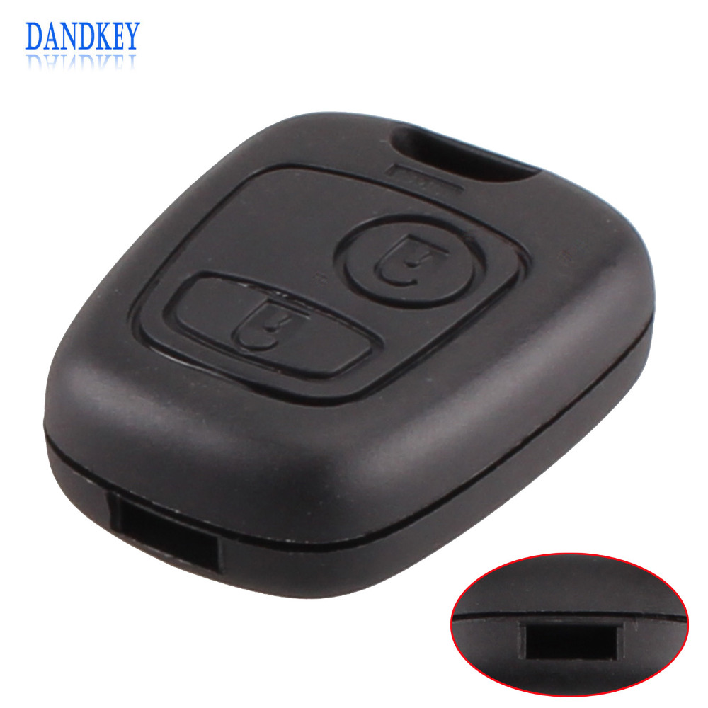 Dandkey Remote Key Uncut Car Key Blade Fob Case Replacement Shell Cover For Peugeot 307 107 207 407 Without Blade With Logo pg02034 remote flip key cover case 2 buttons with groove blade 8mm with battery location for peugeot 307 308 107 207 407 408