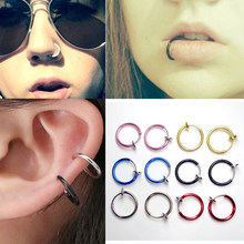 New Clip on Boby Nose Lip Ear Fake Piercing Rings Stud Punk Goth False Hoop Earrings Septum 1 piece / 2 pieces(China)