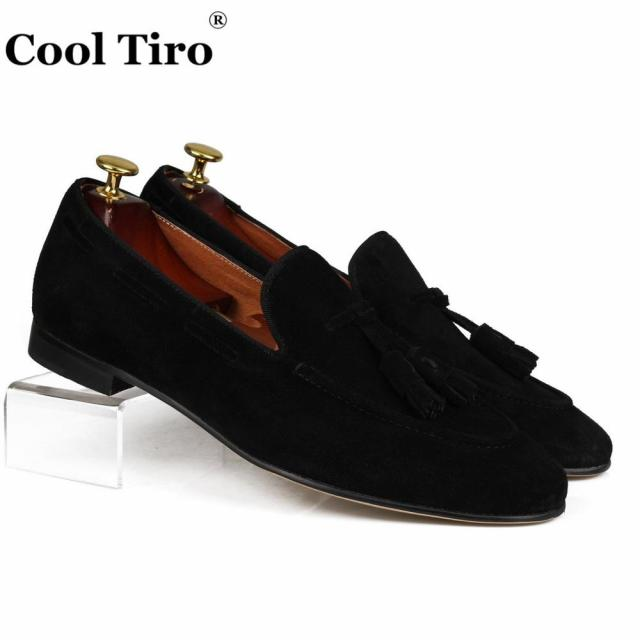 Cool Tiro Black Suede Mens Loafers Tassels Genuine Leather Casual
