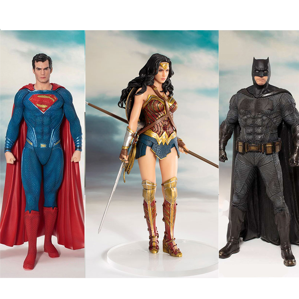 DC Justice League Figure Wonder Woman Batman Superman Statue ARTFX The Flash Cyborg Aquaman Action Figures Collection Model Toy
