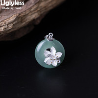 Uglyless Real 925 Sterling Silver Flower Pendants with Leather Rope Chains Natural Jade Button Necklaces for Women Fine Jewelry