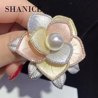 SHANICE Buchilati Sandblasting Three Colors Brooch Pins Cubic Zirconia CZ Crystal Wedding Brooches For Women Party Jewelry Gift