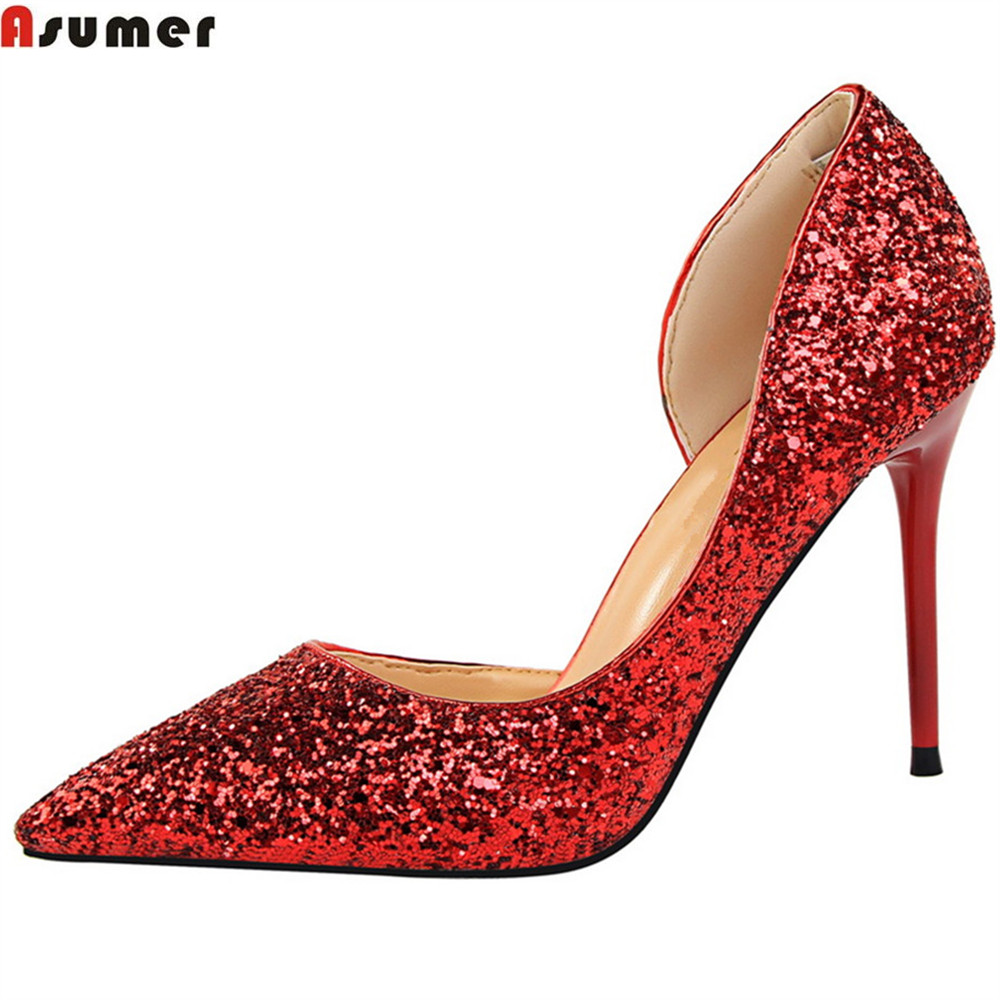 ASUMER fashion spring autumn women pumps pointed toe shallow thin heel prom shoes sexy super high wedding high heels shoes moonmeek new arrive spring summer female pumps high heels pointed toe thin heel shallow party wedding flock pumps women shoes