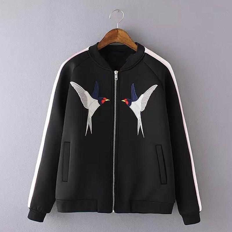LYFZOUS Bird Embroidery Bomber   Jacket   Women Harajuku Pilot   Jacket   2018 Casual   Basic     Jackets   Coat Hip Hop Patch Designs