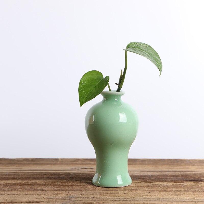 chinese style longquan porcelain hydroponics mini vase office