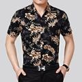 Summer new fashion flowers print short sleeve hawaiian men's cotton shirt, man's tropical hawaiian floral shirt