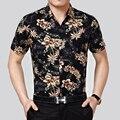 Verão nova moda flores imprimir manga curta camisa de algodão dos homens havaianos, tropical havaiano floral camisa do homem