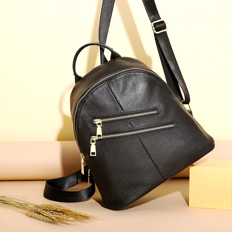 Fashion Double Zippers Brand Design Genuine Leather Women Backpack Small Soft Cow Leather Student's School Bag Casual Travel Bag nucelle brand new design fashion drawstring gemstone lock zipper cow leather casual women lady backpacks shoulders school bag