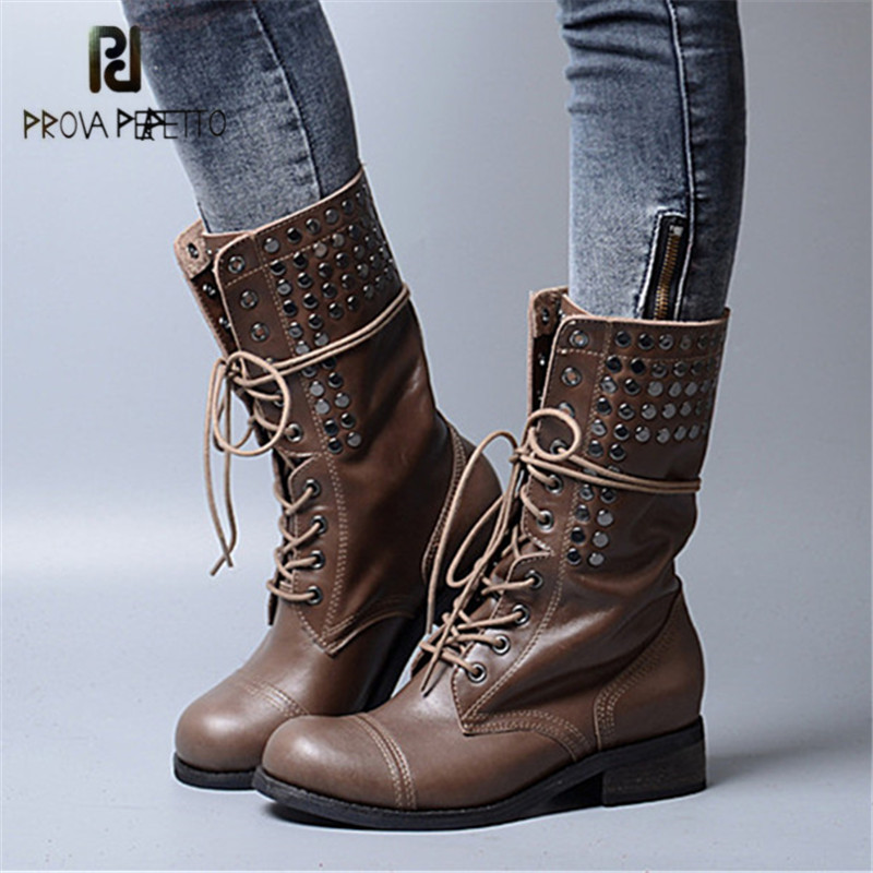 Prova Perfetto Punk Style Women Ankle Boots Special Two Kinds Of Wear Rivet Studded Martin Boots Lace Up Genuine Leather Botas welly welly набор служба спасения пожарная команда 4 штуки