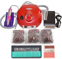 Kırmızı Tırnak Araçları Elektrikli Tırnak Matkap Makinesi 30000 RPM Nail Art Ekipmanları Manikür Seti Tırnak Dosya Matkap Ucu Zımpara Bandı aksesuar