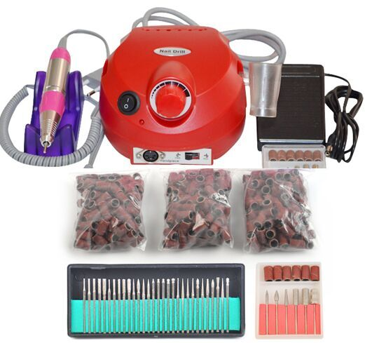 red  Nail Tools Electric Nail Drill Machine 30000RPM Nail Art Equipment Manicure Kit Nail File Drill Bit Sanding Band Accessory white nail tools electric nail drill machine 30000rpm nail art equipment manicure kit nail file drill bit sanding band accessory