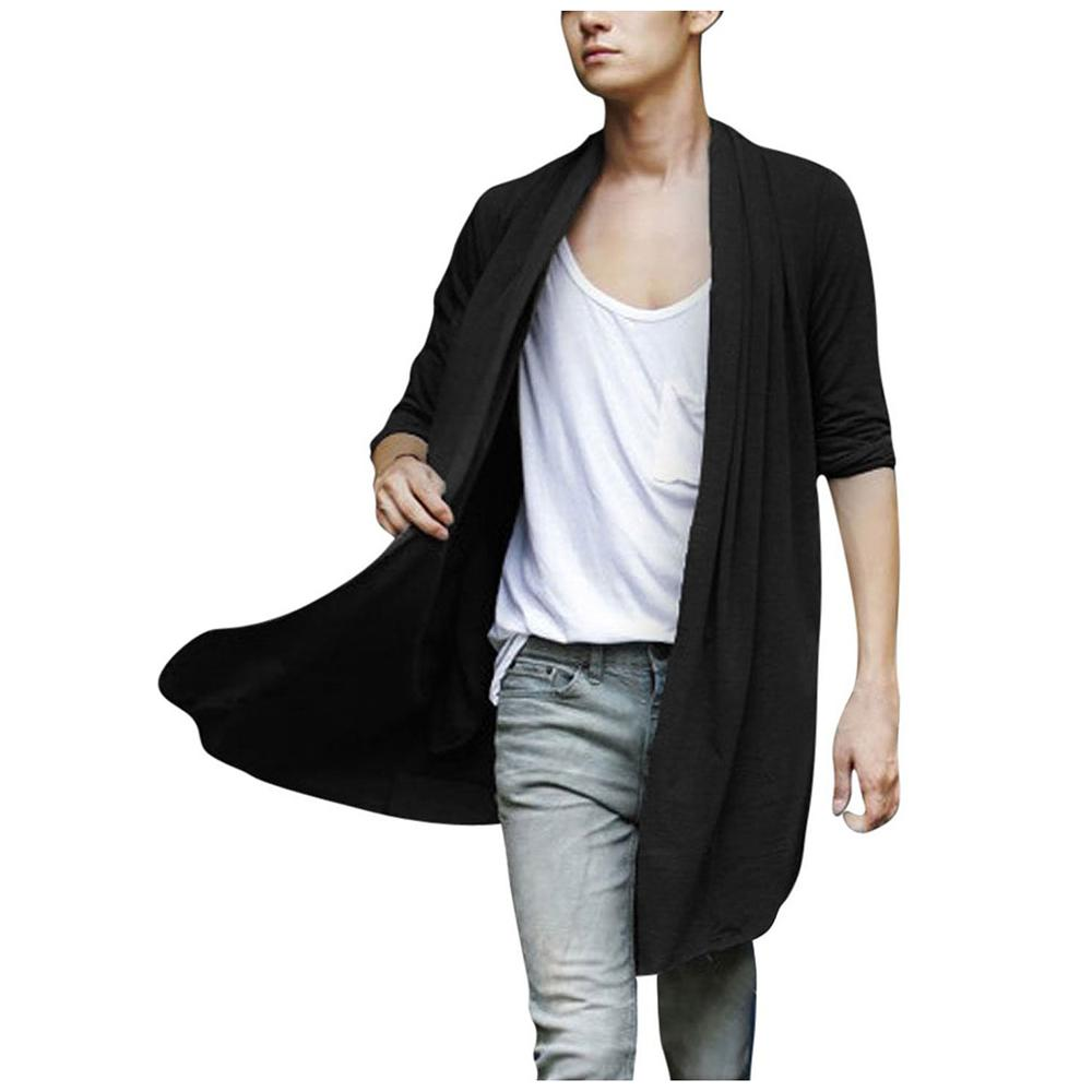 Cardigans Men Long Pull Cardigan Long Sleeve Knitting Solid Black Grey Thin Slim With Pockets Decration Cardigans Sweater