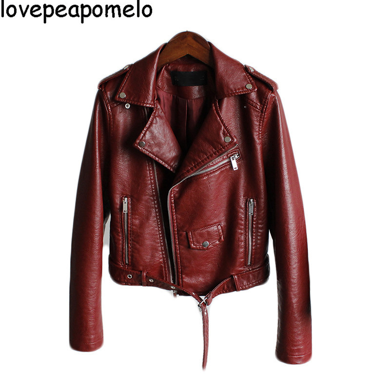 2018 Spring New Women's Fashion Locomotive Lapel Short Slim Bomber Jacke Jacket Short   Leather   Jacket Female coat D242