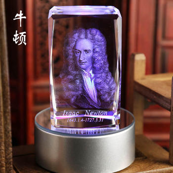 2020   TOP Scholars gift office art -3D crystal Isaac Newton Sculpture The father of modern physics statue  -FREE SHIPPNG