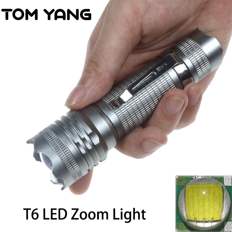 Mini Cree T6 LED Flashlight Light Zoomable Handy Pocket Penlight 5 Modes Spotlight Waterproof LED Torch Small Camping Lantern mini green flashlight cree 2000lm waterproof led flashlight 3 modes zoomable led torch penlight free shipping zk91