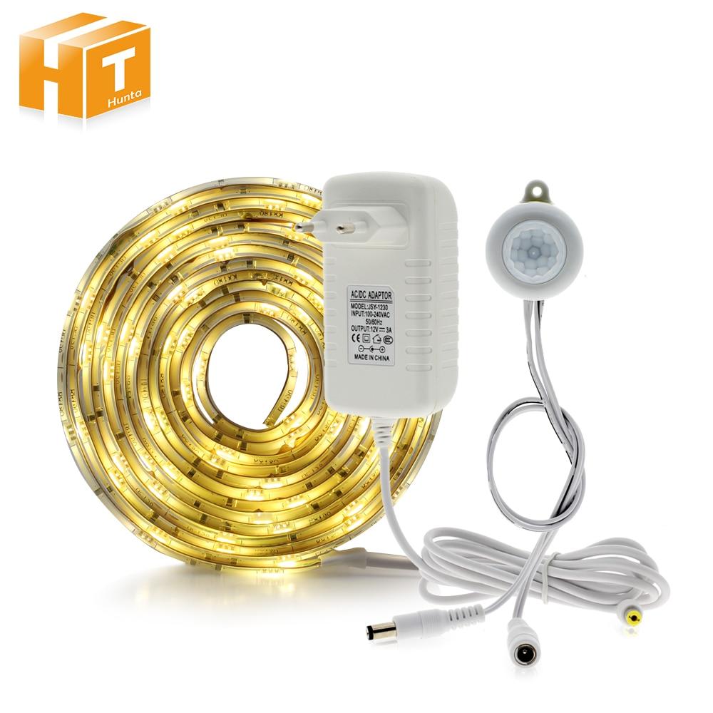 Pir Motion Sensor LED Streifen 5050 Wasserdicht 30 LEDs/m Warm Weiß + Intelligente Sensor Licht Control Schlafzimmer Nacht licht