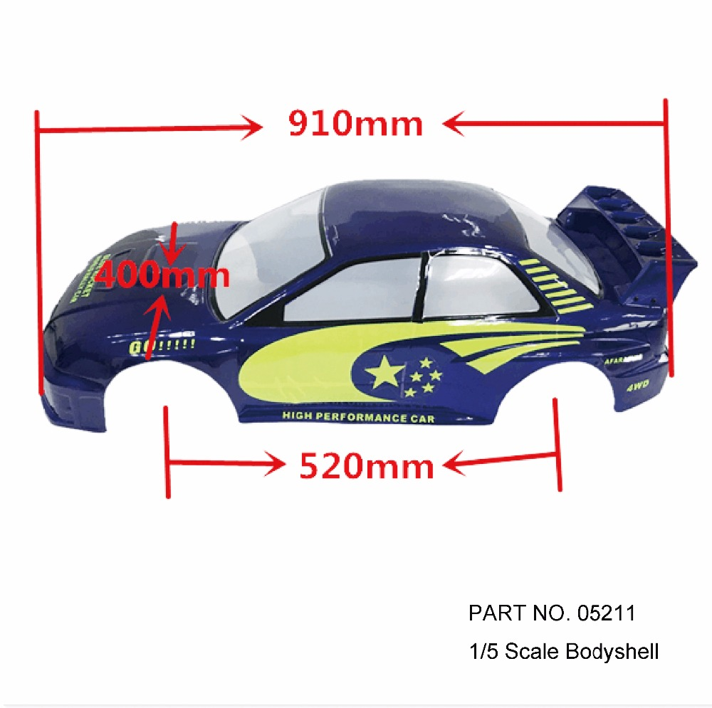 HSP RACING RC CAR TOYS SPARE PARTS BLUE ROCKET SUBARU BODY SHELL FOR HSP 1/5 ON ROAD CAR 94052 (PART NO. 05211 05212)