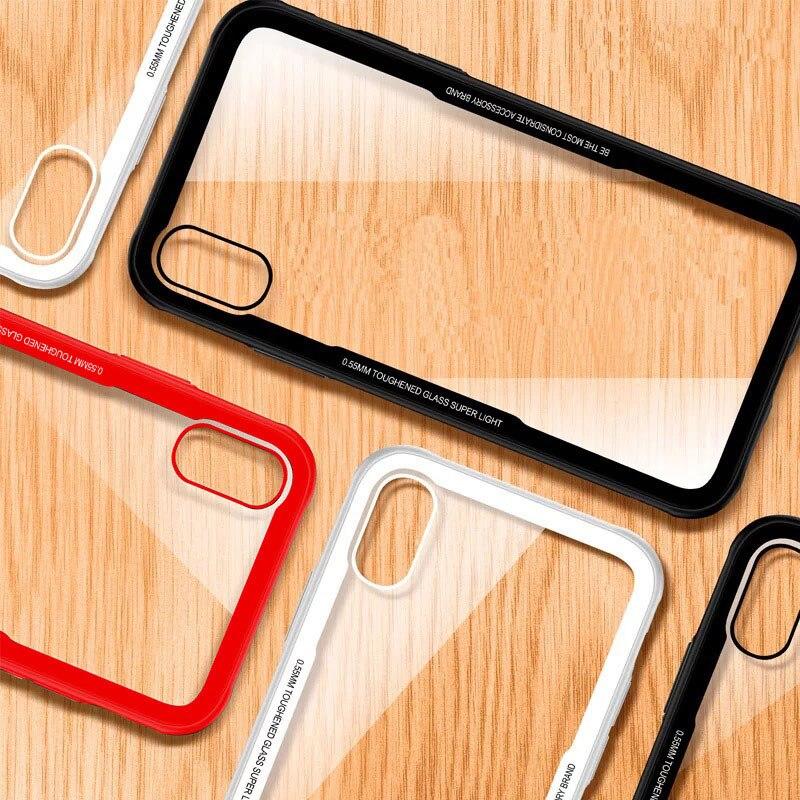 Antichoc Trempé Verre Téléphone Cas Pour iPhone 7 8 6 6 S Plus Hybride Anti-frapper De Protection Armure Couverture de Cas Pour l'iphone X Coque