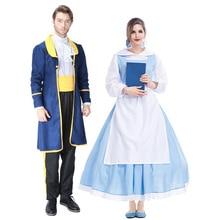 2018 Hot Sale Adult Beauty and the Beast Belle Blue Maid Dress Costume Women  Full Set 49d94027e38b