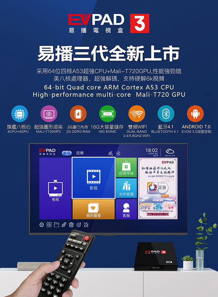 EVPAD 3 Android TV BOX 2G16G with life time iptv for Korean Japan Malay SG  CN HK TW Thailand Indonesia America with gift