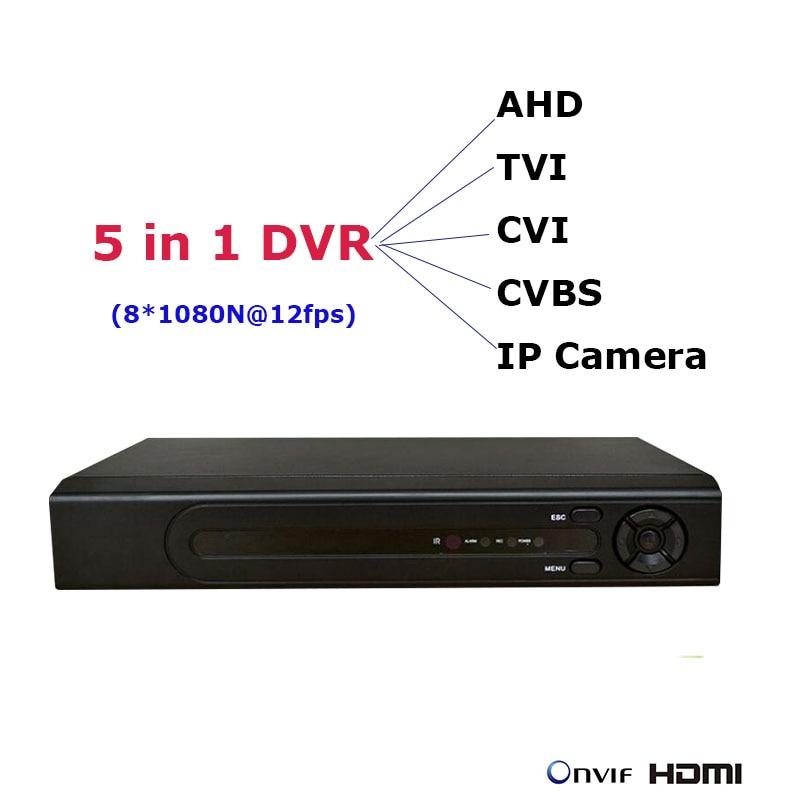 8CH 1080N 5 in 1 mini DVR cho AHD TVI CVI CVBS IP Máy Ảnh NVR P2P Mạng An Ninh Ghi Video Onvif NVR CCTV Ghi âm thanh