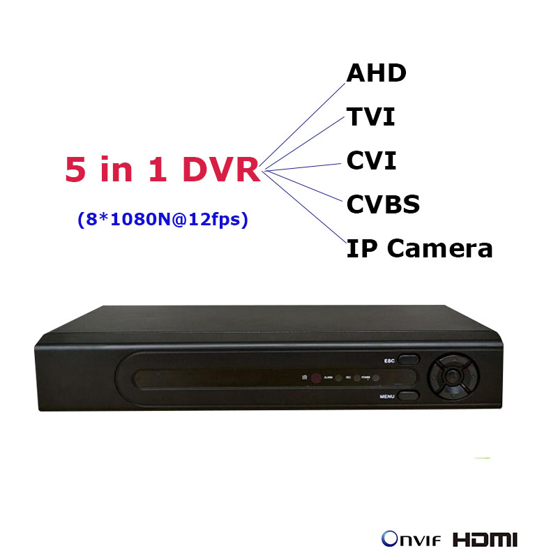 8CH 1080N 5 in 1 mini DVR for AHD TVI CVI CVBS IP Cameras NVR P2P Network Security Video Recorder Onvif NVR CCTV Recorder audio ac 110 240v to dc 12v 1a power supply adapter for cctv hd security camera bullet ip cvi tvi ahd sdi cameras eu us uk au plug