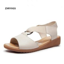 Soft and comfortable genuine Leather summer women sandals flat heel 2016 slip-resistant nurse shoes flat women shoes sandals 2018 new summer sandals women pu leather flat with mixed colors creepers soft skin sandals comfortable mather shoes