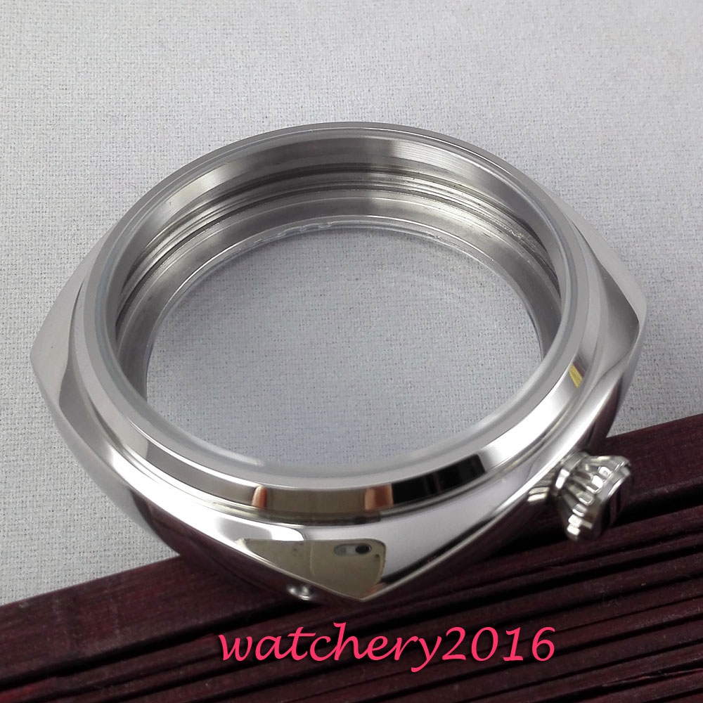 New 45mm parnis polished stainless steel case hardened font b mineral b font glass fit 6497