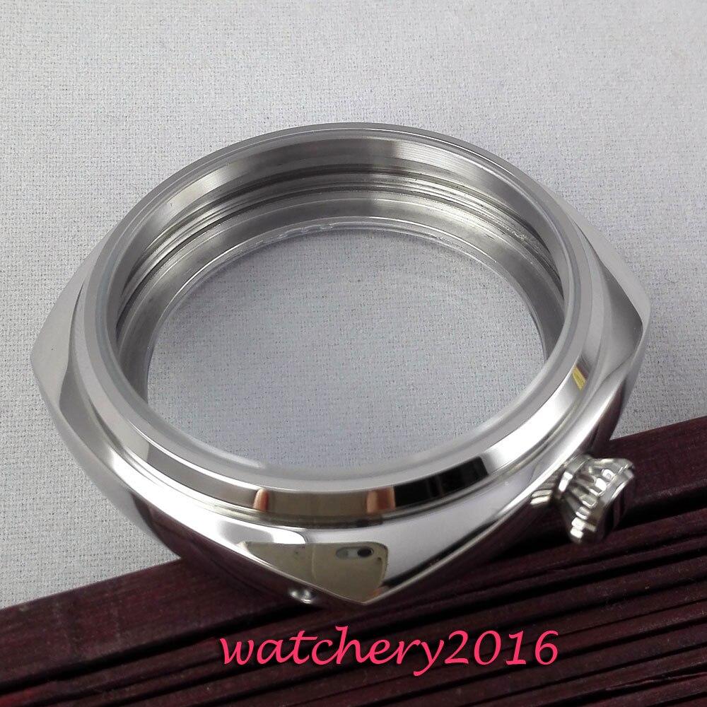 Nouveau 45mm parnis acier inoxydable poli cas trempé verre minéral fit 6497 6498 ST 36 Molnija montre de mouvement Cas