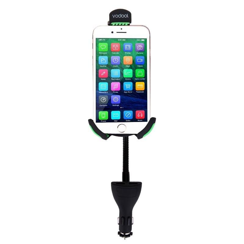 Universal 360 Rotierenden Schwanenhals Auto Telefon Halter 2.1A Dual USB Ladegerät Unterstützung Stand Halterung für GPS Telefon Voiture