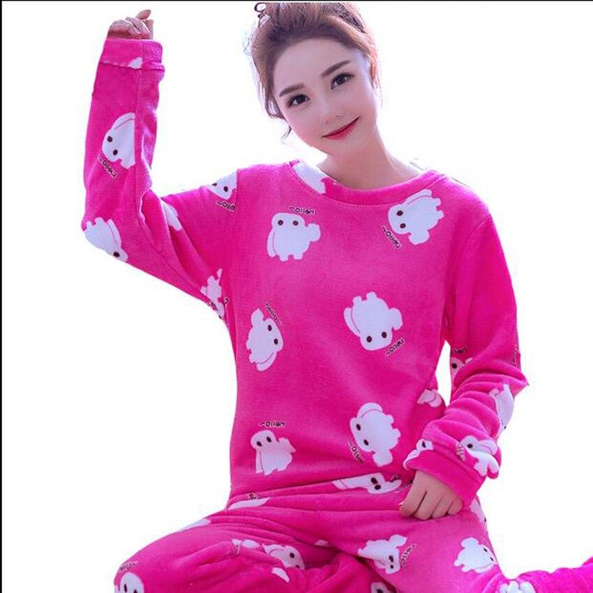 Autumn and Winter Womens Pajama Sets Cute Cartoon Flannel Women's Pyjamas Sleepwear Pijamas Mujer Homewear For Women Tracksuit