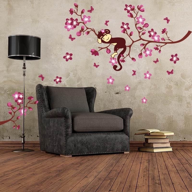 Monkey Pink Flower Branch Blossom Tree Wall Stickers PVC