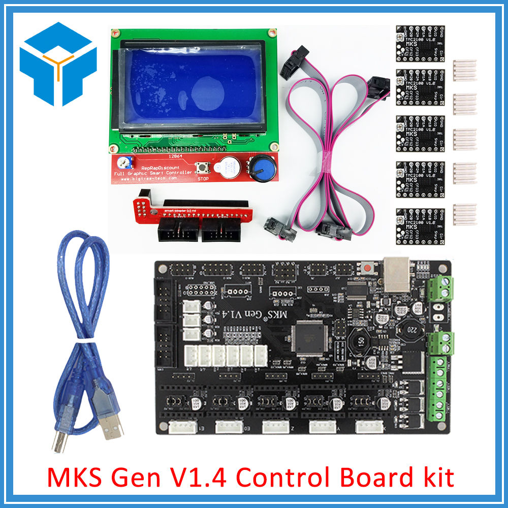 MKS Gen V1.4 3D printer kit with MKS Gen V1.4 RepRap Control board + 5PCS TMC2100 Driver/8825/A4988 + 12864 LCD 3d printer contol card mks base mks tft28 touch screen kit all in one controller starter kits imprimante reprap control panel