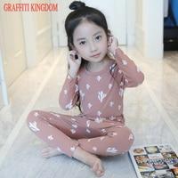 Autumn New 2017 Baby Girls Winter Suit Underwear Little Kids Long John Pajamas Sleep Wear Underwear