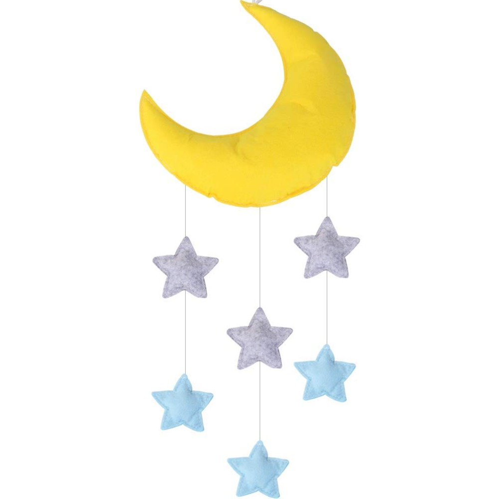 Handmade Cotton Felt Stuffing Moon Star Hanging Decor Baby Mobile Crib Nursery Ceiling Decoration Kids Room Bedroom Decor in Wind Chimes Hanging Decorations from Home Garden