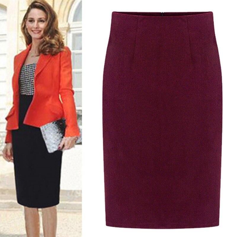 Personnaliser automne hiver femmes grande taille sac hanche jupe dames élégant en laine taille haute genou longueur crayon jupes dos fente Saia