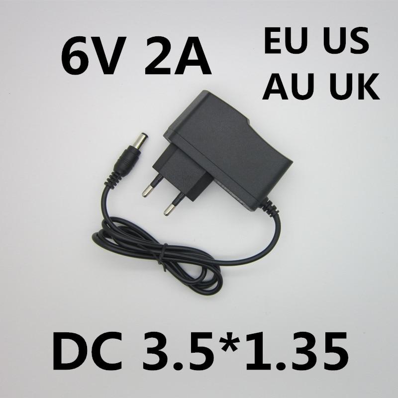 Best Quality AC/DC Adapter DC 6V 2A 2000MA AC 100-240V Converter Adapter 6 V Volt Charger Power Supply EU Plug DC 3.5*1.35mm