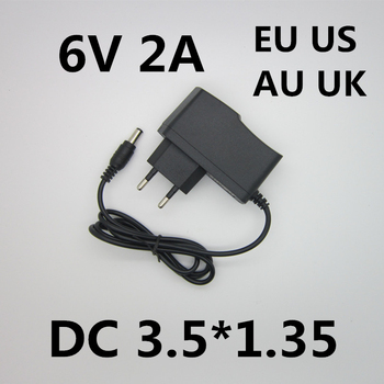 Best quality AC/DC Adapter DC 6V 2A 2000MA AC 100-240V Converter Adapter 6 V Volt Charger Power Supply EU Plug DC 3.5*1.35mm