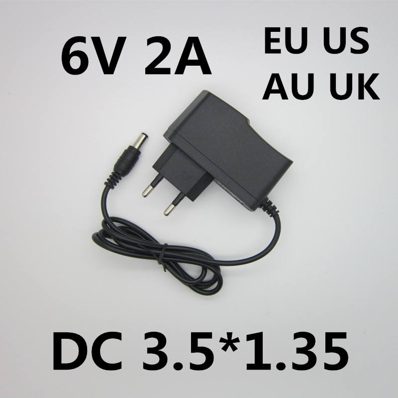 Best quality AC/DC Adapter DC 6V 2A AC 100-240V Converter Adapter,6V2A Charger Power Supply EU Plug DC 3.5*1.35 5pcs best quality dc plug dc plug long 5 5 2 1mm solder free shipping