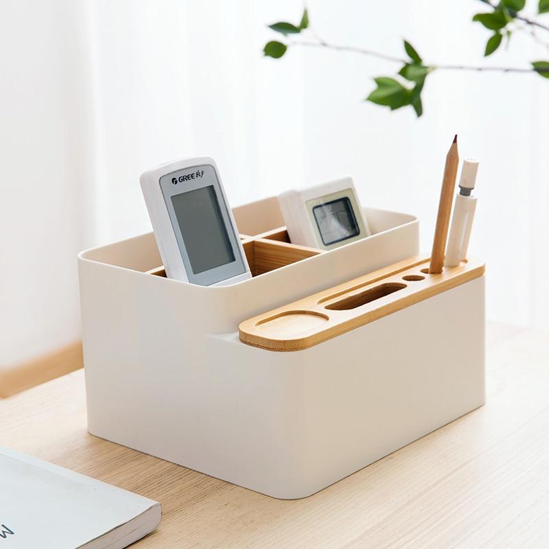 Bamboo Desk Sundry Box Office Desk Stationery Rack Desk Accessories Rubber Feet Box Stationery Shop Penholder Office Supplies