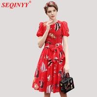 Red Hot Fashion Chiffon Dress For Women 2018 Summer Short Puff Sleeve Fish Print Belt Collect