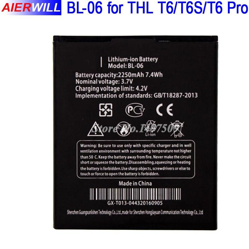 BL 06 bl06 bl-06 для <font><b>THL</b></font> T6 T6s Pro <font><b>T6C</b></font> Батарея Bateria Batterij аккумулятор 2250 мАч